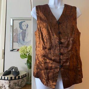 Vintage Worthington embroidered satin vest sz 8